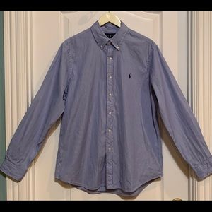 Men's Cotton Ralph Lauren Dress Shirt pinstripes L